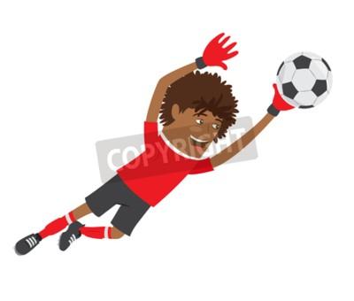Ilustracja Funny Afryki graczem Amerykańska piłka nożna bramkarz ma na sobie czerwony t-shirt działa skoki do piłki i uśmiechnięte