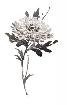 Ilustracja Ink kwitnących kwiatów, chryzantemy. Sumi-e, U-sin, gohua malowanie stile. Sylwetka składa się z czarnego pędzla na białym tle.