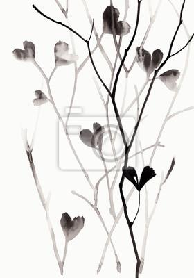 Ilustracja Ink z gałęzi i liści na białym tle.