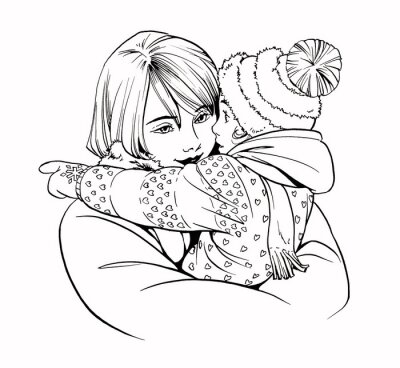 Ilustracja kobieta z dzieckiem na świeżym powietrzu w okresie zimowym. Ręcznie rysowane linia realistyczny romantyczny styl grafiki.