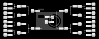 Naklejka Ilustracja kreatywnych wektor harmonogramu playoff z dwóch konferencji pusty szablon na przezroczystym tle. Wspornik mistrzowski design artystyczny. Streszczenie graficzny turniej, puchar, element