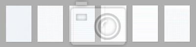 Naklejka Ilustracja kreatywnych wektor realistyczny kwadrat, wyłożone arkusze papieru puste zestaw na białym tle na przezroczystym tle. Art design lines, notatnik strony siatki z marginesem. Element graficzny