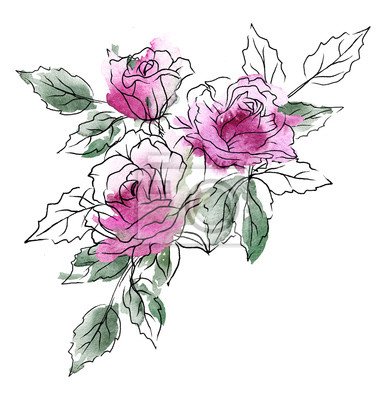 Ilustracja kwiatowy. Akwarela kwiaty róż, czarna grafika liniowa, splash. Zaproszenie do dekoracji, kartkę z życzeniami, plakat. Malowanie ręczne Bukiet na białym tle.