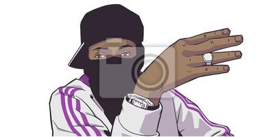 Naklejka Ilustracja młodego czarnego londyńskiego członka gangu