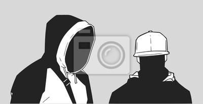 Naklejka Ilustracja młodych członków gangu w Londynie