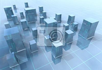 Ilustracja niebieski nowoczesny tle siatka miasto lub