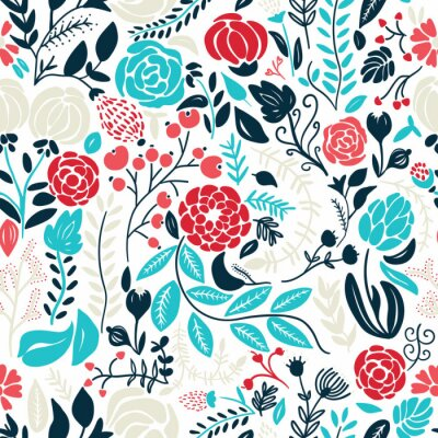 Naklejka Ilustracja piękne ręcznie rysowane kwiatów