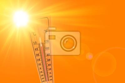 Naklejka ilustracja pomarańczowego i żółtego koloru przedstawiającego słońce i termometr otoczenia