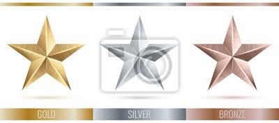 Naklejka Ilustracja realistyczne metaliczne 3 gwiazdki