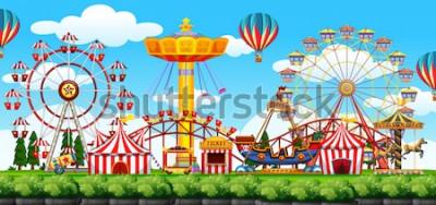Naklejka Ilustracja sceny parku rozrywki