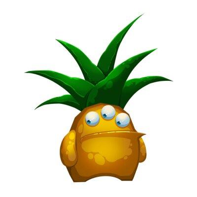 Naklejka Ilustracja: The Fantastic Potwór Las ananasa wyizolowanych na białym tle. Realistyczne Fantastic Style Cartoon Character / potworów / Stworzenie projektu.