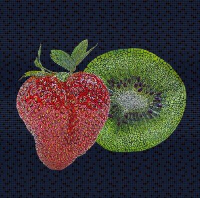 Naklejka Ilustracja truskawka i kiwi
