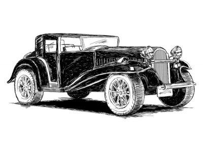 Naklejka Ilustracja Vintage Retro Klasyczny stary samochód wektor