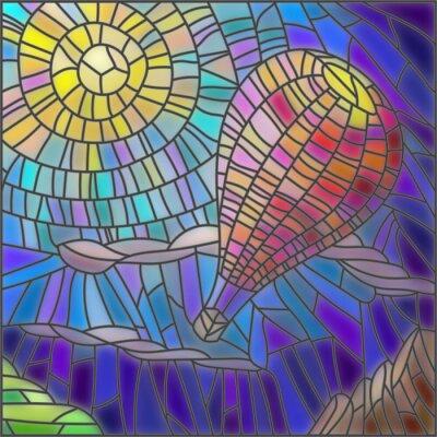 Naklejka Ilustracja w stylu szkła barwionego balonem na tle nieba i słońca