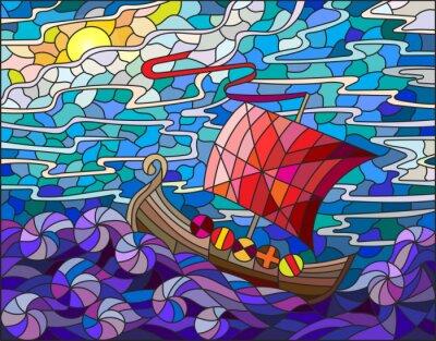 Naklejka Ilustracja w stylu szkła barwionego w antyczne statku z morza, niebo i słońce