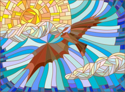 Naklejka Ilustracja w stylu szkła barwionego z rocznika samolotów na niebie, chmury i słońce