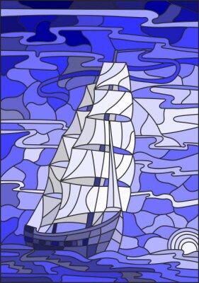 Naklejka Ilustracja w stylu szkła barwionego z żaglowe przeciwko nieba, morza i zachodzącego wersji sun.Blue