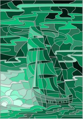 Naklejka Ilustracja w stylu szkła barwionego z żaglowe przeciwko nieba, morza i zachodzącego wersji sun.Green