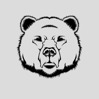 Naklejka Ilustracja wektorowa głowy niedźwiedzia grizzly