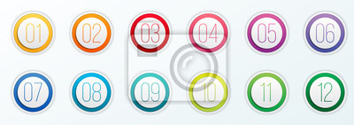 Naklejka Ilustracja wektorowa kreatywnych liczby punktorów zestaw 1 do 12 na przezroczystym tle. Sztuki projektowania. Szablon ikony www gradientu płaski kolor. Element graficzny koncepcji abstrakcyjnej
