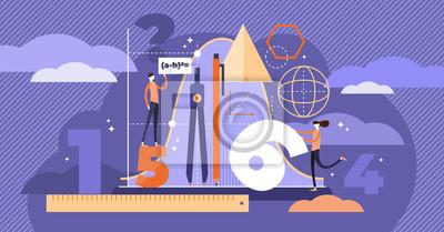 Naklejka Ilustracja wektorowa matematyki. Koncepcja edukacji osób mini.
