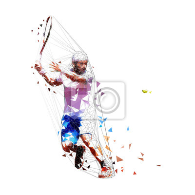 Ilustracja wektorowa niski gracz tenisista. Na białym tle dorosły mężczyzna w białej koszuli i niebieskie szorty, grać w tenisa. Indywidualny sport letni. Aktywni ludzie