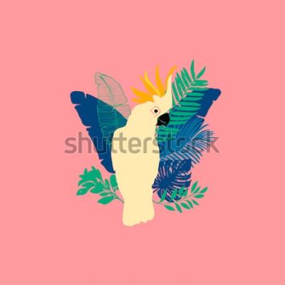Naklejka Ilustracja wektorowa - papuga Kakadu, egzotyczne ptaki, tropikalne kwiaty, liście palmowe, rajski ptak