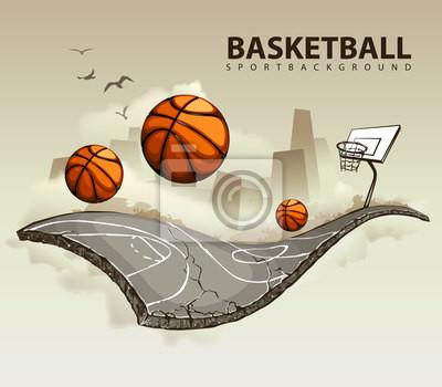 Ilustracja wektorowa z surrealistycznym koszykówki
