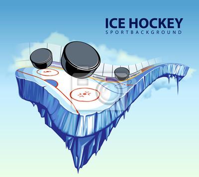 Ilustracja wektorowa z surrealistycznym lodowisko na lodzie
