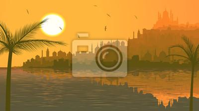 Naklejka Ilustracja wielkiego arabskiego miasta przez morze o zachodzie słońca.