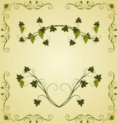 Naklejka Ilustracja winogron gałązka ozdobny