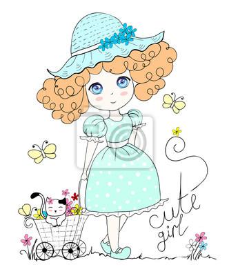 ilustracja z cute dziewczynka i kot, kwiaty, motyla. W pastelowych kolorach