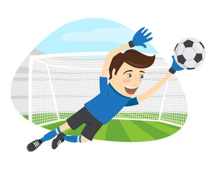 Ilustracja Zabawna bramkarz piłkarski piłkarski noszenie niebieskiej koszulki skoków do piłki