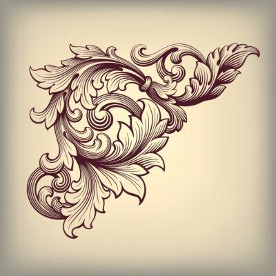 Ilustracja zabytkowe ramki ozdobny barokowy róg