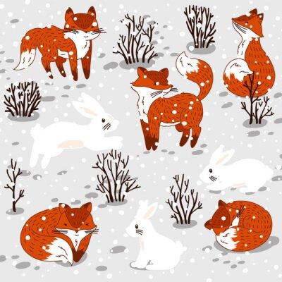 Naklejka Ilustracja Zimowe słodkimi lisów i królika.