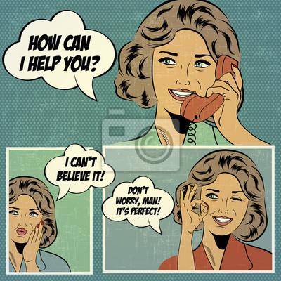 Naklejka Ilustracje do komiksów z retro kobieta w stylu pop
