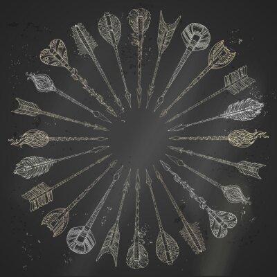 Naklejka Ilustracje kredą strzałki etniczne okrągłe ramki.
