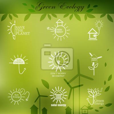 Ilustracje z ikon ekologii, ochrony środowiska, energii zielonej