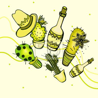 Ilustracje z kaktusa i butelki