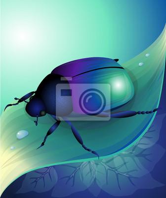 Naklejka Ilustracji wektorowych niebieski żuk