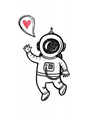 Naklejka ilustracji wektorowych z doodle astronauty