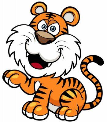 Naklejka Ilustracji wektorowych z kreskówki Tiger