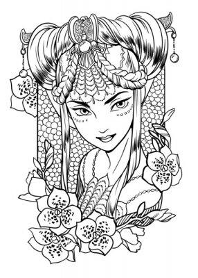 ilustracji wektorowych z księżniczka dziewczyna z wyrafinowanej dekoracji we włosach i elementami kwiatowymi. Czarno-biały, anty-stres. Dorosłych kolorowanki.
