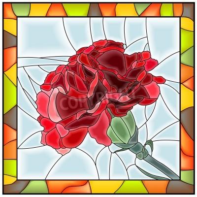 Naklejka Ilustracji wektorowych z kwiatem na czerwony witraż z ramą