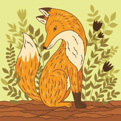 Naklejka ilustracji wektorowych z lisa