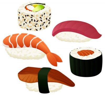 Naklejka ilustracji wektorowych z różnych sushi.