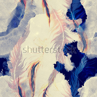 Naklejka imprints flying bird feathers mix seamless pattern. abstract watercolour and digital hand drawn picture. mixed media artwork for textiles, fabrics, souvenirs, packaging and greeting cards.