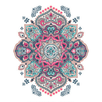 Naklejka Indian floral paisley medallion pattern. Ethnic Mandala ornament. Vector Henna tattoo style. Can be used for textile, greeting card, coloring book, phone case print.