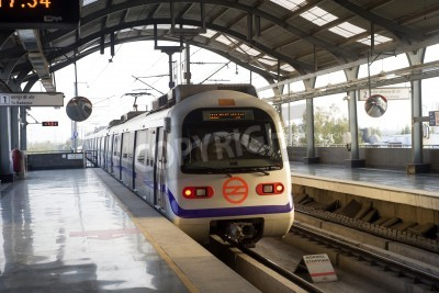 Naklejka Indian modern metro train in Delhi