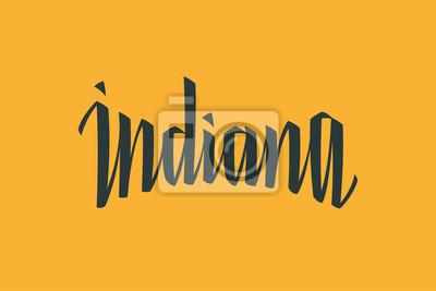 Indiana USA Państwo Słowo Logo Nazwa Ręcznie malowane Szczotka Szablon Logo Kaligrafii